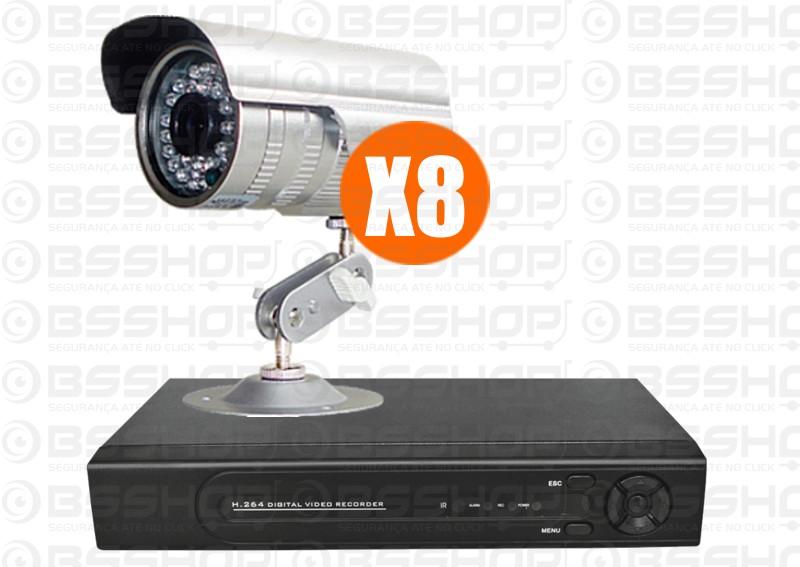 Kit cftv dvr 8ch 8 cameras infra ccd 1 3 1200 linhas r for Kit da garage stand alone